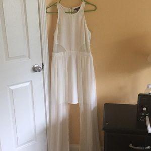 All-white sleeveless dress